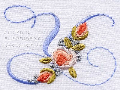 Amazing Embroidery Designs  Letter Y with roses