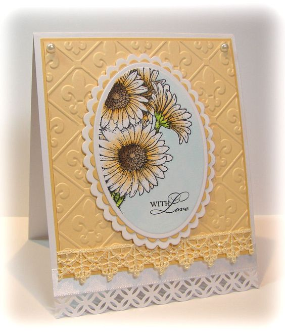 Gerbera daisies ; Spellbinders Nest. Classic ovals ; Classic scalloped ovals ; MS Modern garland border pucnch