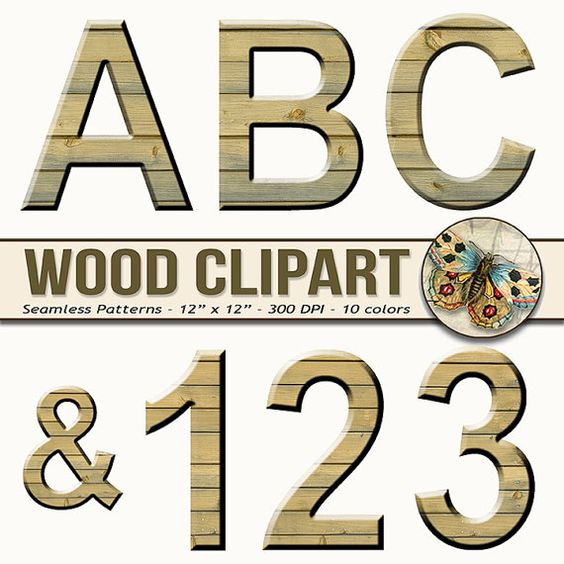 Wood alphabet clipart digital alphabet printable rustic wood letters