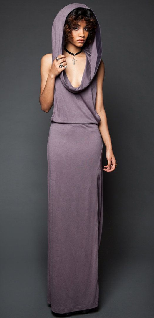 Lip Service Badlands Modal Rayon Jersey Cowl Neck Hoodie Dress - Lip Service - Fetisch und Gothic Kleidung