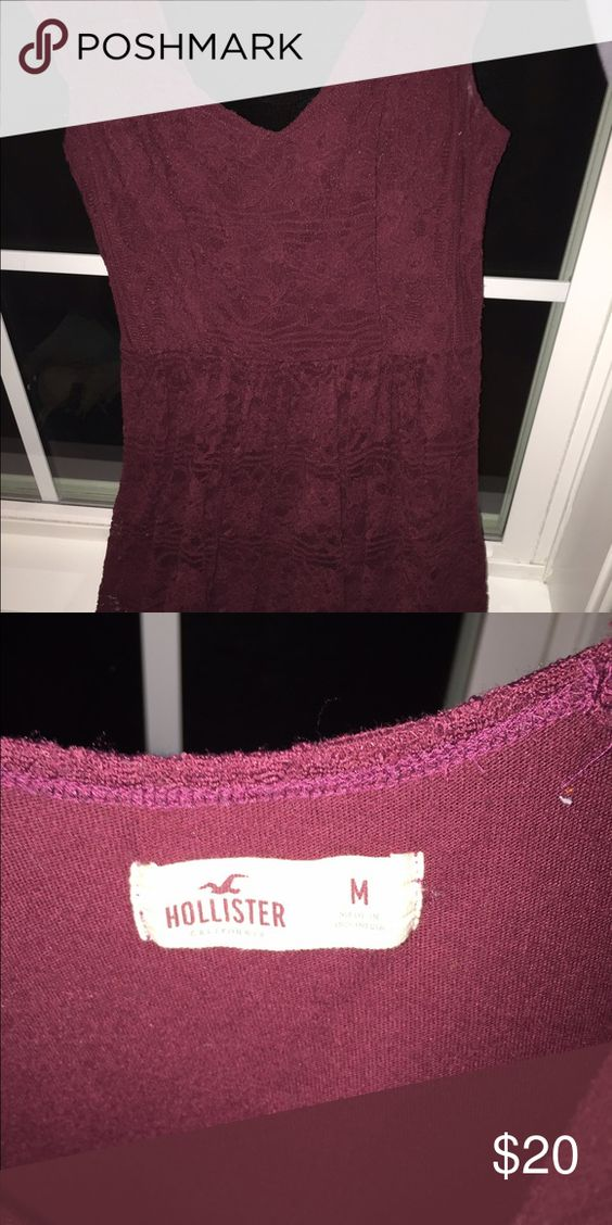 Maroon lace dress Lace dress that is above the knees. Very comfortable and elegant for a special occasion or casual Hollister Dresses Mini