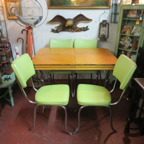 SOLD Vintage Mid Century Modern Dinette Set With Green Vinyl Chairs Circa 1