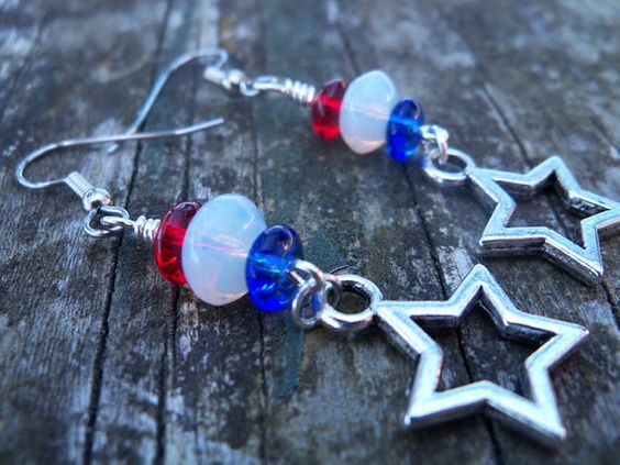 Red White and Blue Earrings With Star Charms and by AliCsCreations, $12.25