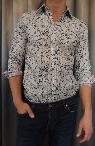 Ted Baker floral stripe shirt $165 from Gotstyle Menswear.