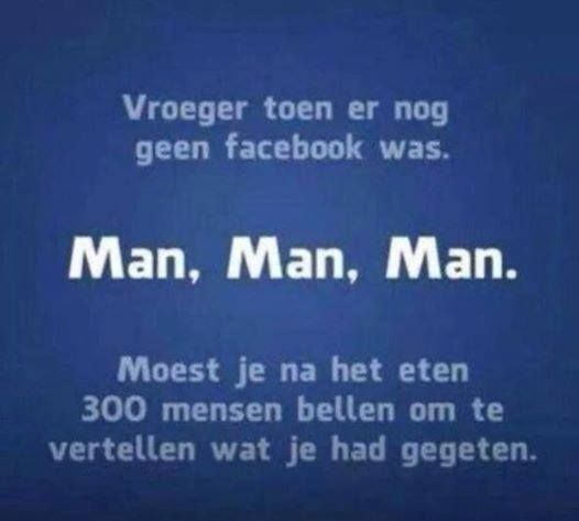 """""""Previously, when there was no Facebook ... men, men, men. You have to call 300 people after dinner to tell what you had eaten."""""""