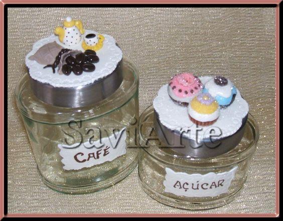 Frascos decorados com biscuit ou porcelana fria