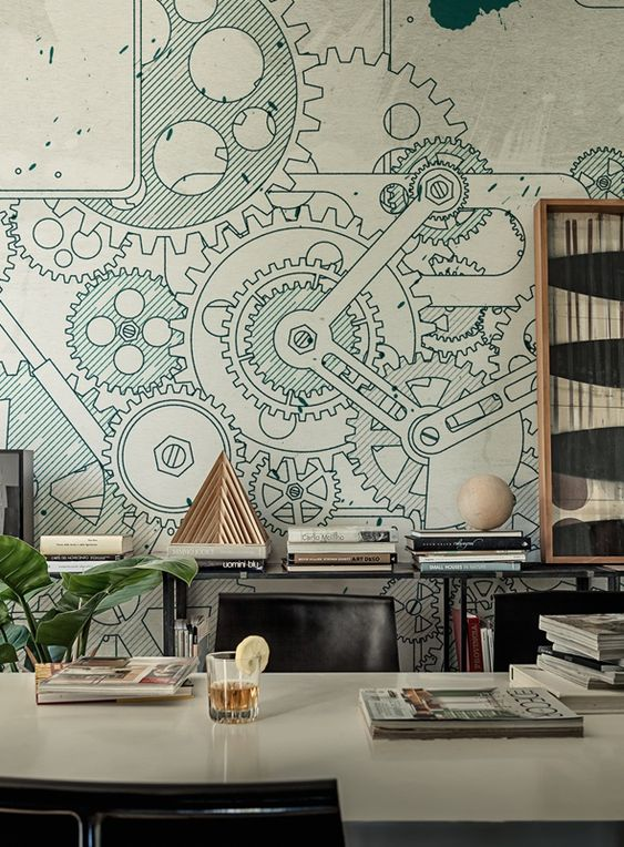Wall deco steampunk mural interiors pinterest for Art deco wallpaper mural