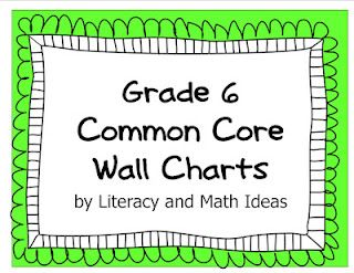 Common Core wall charts for sixth grade.
