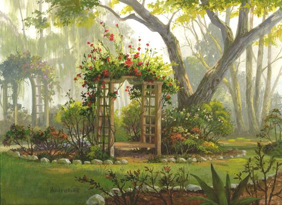 Roses are Red by Michael Humphries floral garden arch gouache