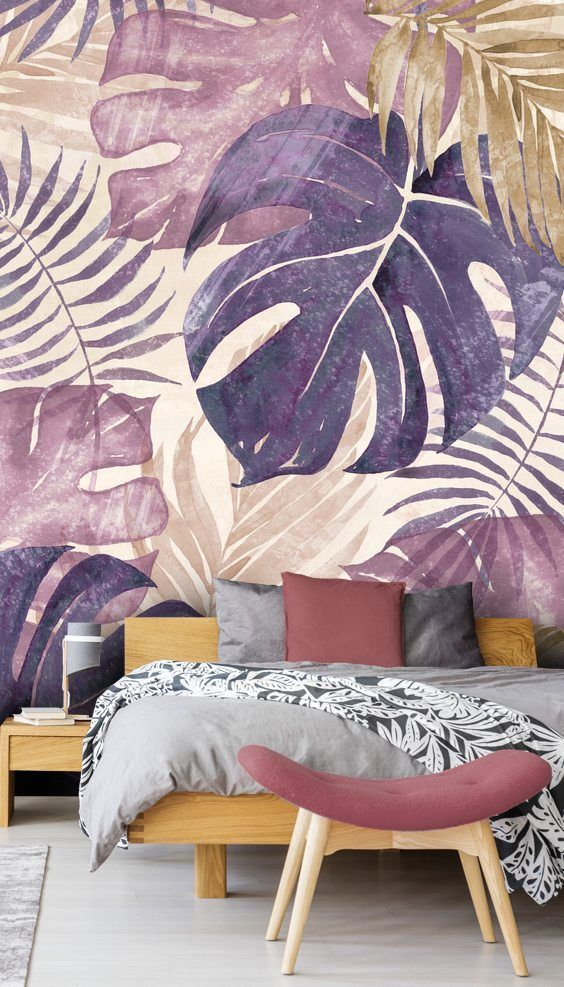 Stunning Tropical Leaves wall mural by Di Brookes Wallsauce. This high quality Tropical Leaves wallpaper is custom made to your dimensions. This image is Di Brookes If you're looking for a stunning feature wall for your bedroom, look no further! C