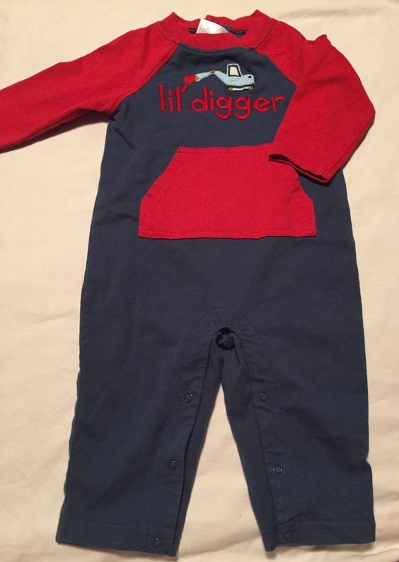 Gymboree Boys lil Dirt Magnet Long Romper Outfit Size 6-12 Months Digger #Gymboree