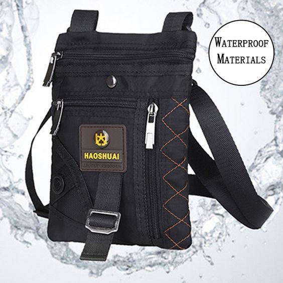 Men Nylon Waterproof Vertical Crossboby Bag Light Weight Casual Travel Shoulder Bag Weekend Bag