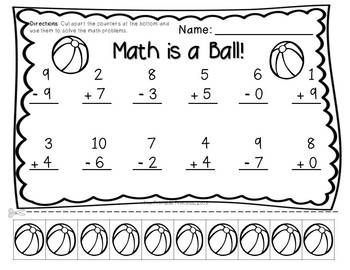math worksheet : addition  subtraction practice pages with cut apart counters  : Addition And Subtraction Worksheets For Kindergarten