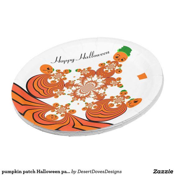 pumpkin patch Halloween paper plates