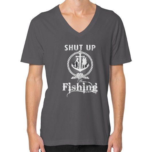 Shut up and fishing V-Neck (on man)