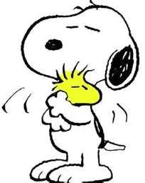 """Happiness is a warm puppy."" - Lucy van Pelt: Snoopy Hug, Big Hug, Woodstock Hug, Snoopy Woodstock, Snoopy Friends, Snoopy And Woodstock, Cartoon Character"