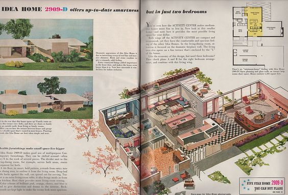 Mid Century Modest Home Plan 2909 D From Better Homes