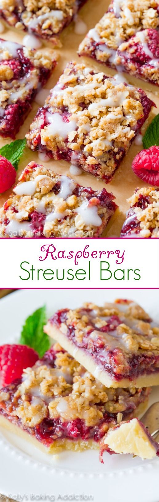 Raspberry Streusel Bars Dessert Recipe via Sally's Baking Addiction - ALWAYS loved Raspberry Streusel Bars are so simple to make and are even better with brown sugar streusel and sweet vanilla glaze on top! #dessertbars #cookiebars #barsrecipes #dessertforacrowd #partydesserts #christmasdesserts #holidaydesserts #onepandesserts