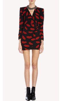 Saint Laurent Lip-Print Georgette Wrap Dress