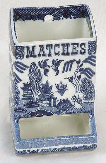 ~ Blue Willow Kitchen Match Holder ~