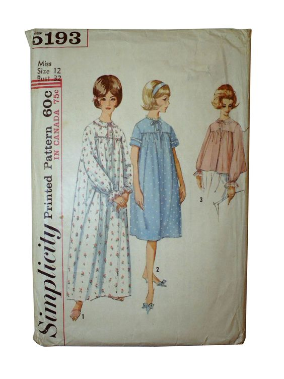 50s -Simplicity Pattern No. 5193- Misses nightgown in two lengths and bedjacket. Nightgown and bedjacket, with round neckline, ribbon bow trim at front button closing, set-in sleeves, front and back are gathered and joined to yoke. V.1 has rick rack trim. Collarless V.2 has short sleeves and is below knee length. V.1 and 3 have collar and longsleeves have a casing which forms ruffle. V.2 and 3 have lace trim.