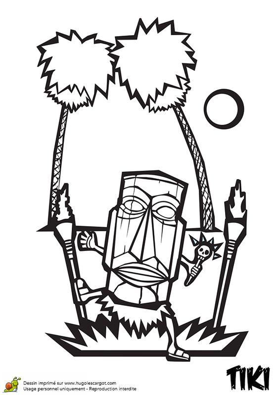 Dessin à colorier d'un Tiki avec des torches