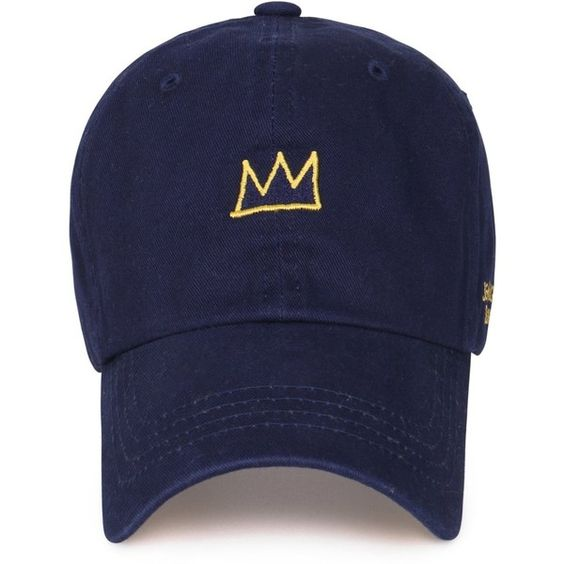 Jean-Michel Basquiat Cotton Cute Crown Embroidery Curved Hat Baseball... ($16) ❤ liked on Polyvore featuring accessories, hats, embroidery hats, embroidered ball caps, embroidered baseball caps, ball caps and baseball cap