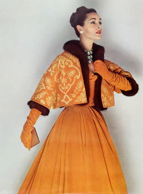 Christian Dior, 1958 50s 60s fashion couture designer orange tangerine dress gown outfit jacket color photo print ad model magazine