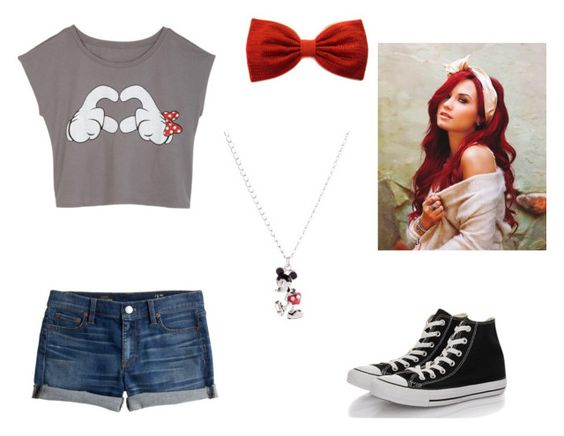 """Untitled #40"" by amanda-barsa ❤ liked on Polyvore featuring J.Crew, Converse and Disney"