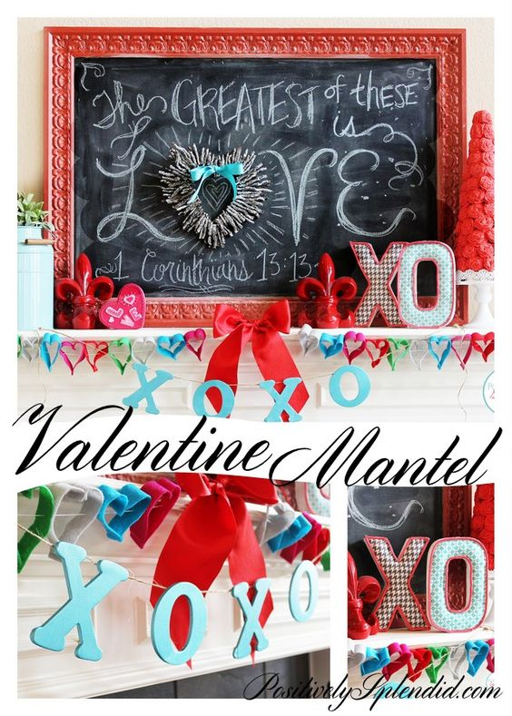 DIY Valentine's Day Mantel Decor - Love the chalkboard art here!