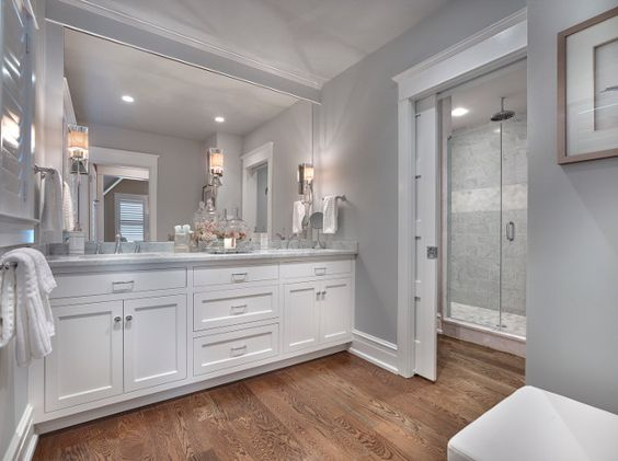 Seaside Shingle Coastal Home  Bathroom paint color is Stonington Gray HC-170 Benjamin Moore