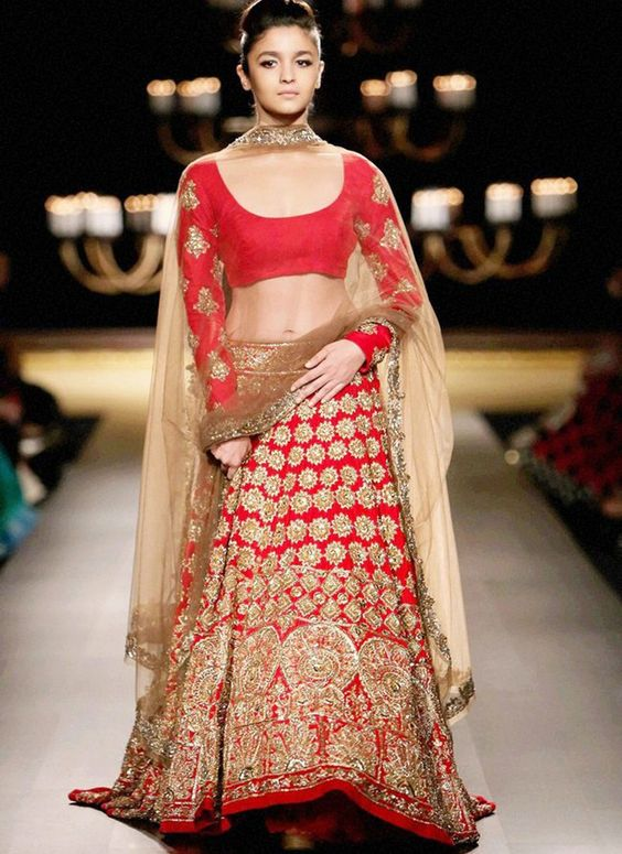 Indian Lehenga Choli Designs For Wedding Red Outfit By Manish Malhotra