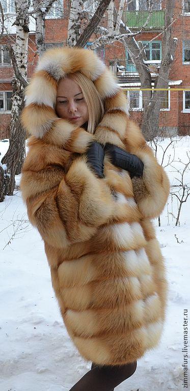 golden fox fur hooded coat