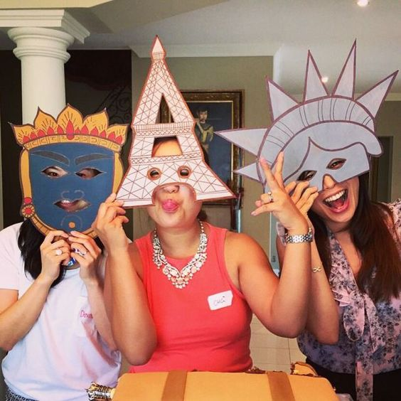 Fun photo props idea for travel themed party photo booth for Around the world party decoration ideas