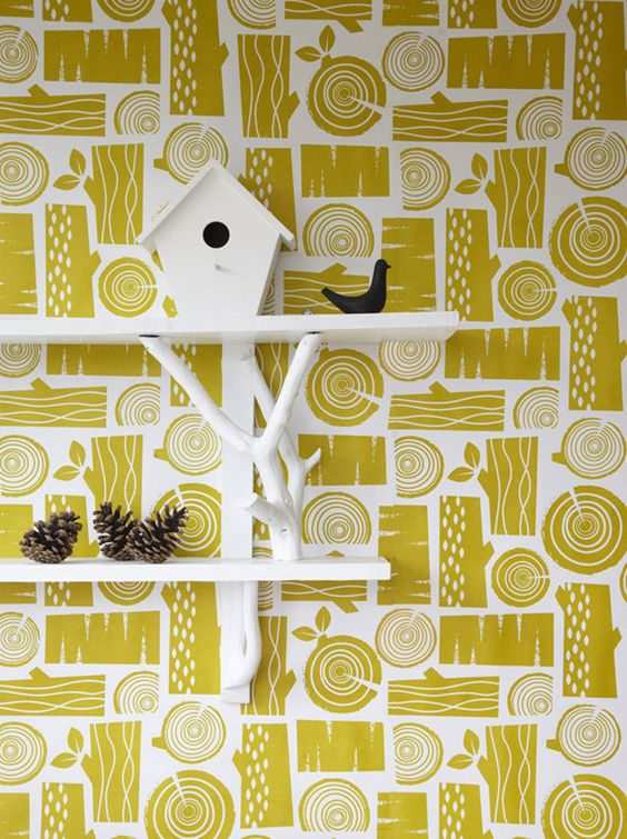 Logpile wallpaper in moss yellow by Roddy & Ginger