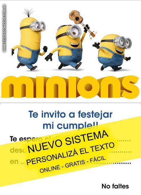 Tarjeta De Cumpleaños De Minions Tarjeta Para Editar E