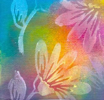 Watercolor paper stamped with gesso and sprayed with Color Mists