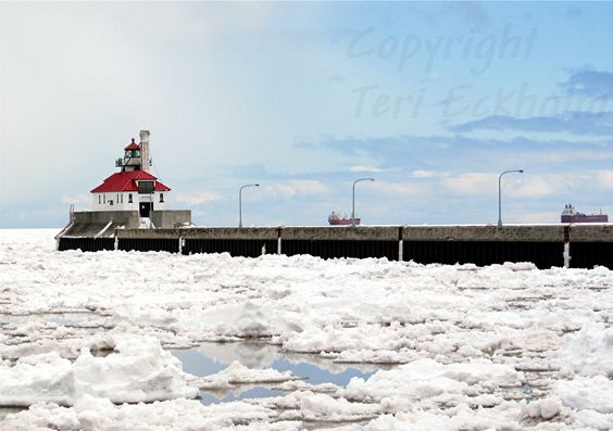 Snow and ice in early 2013 didn't stop the big ships! #LakeSuperior #CanalPark #DuluthMN