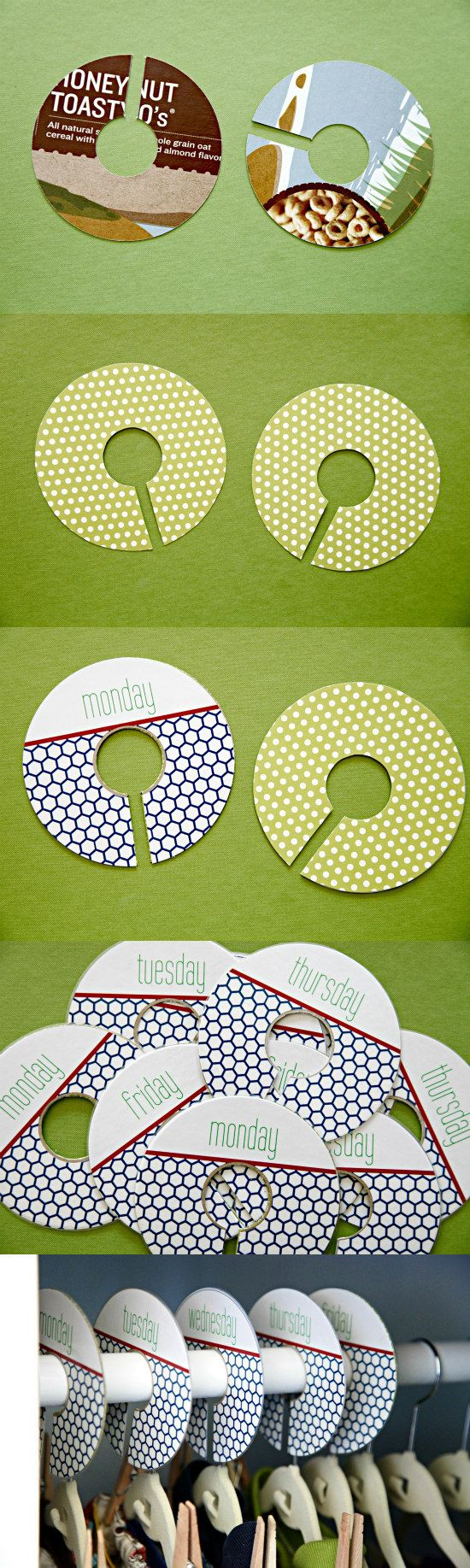 Defeat closet clutter and get prepared for the week. By making these hanger tags, your child will no longer waste time in the morning picking out an outfit!