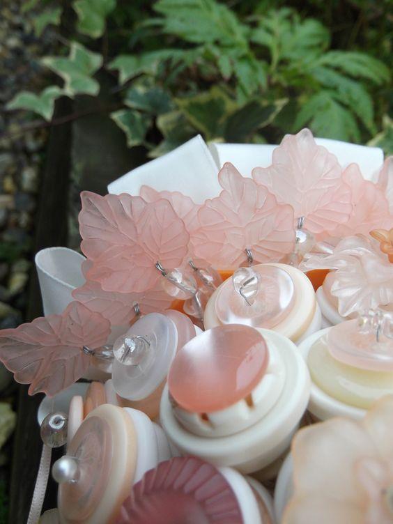 Peaches & Cream Button Bouquet - Folksy