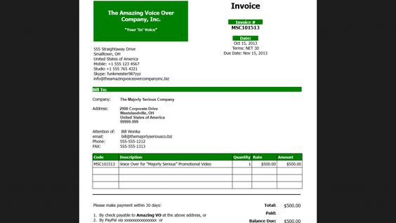 Voice Over Invoice Voiceover Pinterest Template - invoice web app
