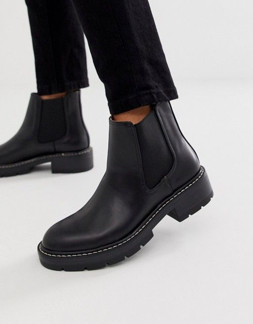 Pull Bear Stitch Rand Boot In Black Boots Boot Pulls Chelsea Boots