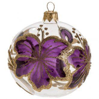 Bola de Navidad transparente flores morados 8 cm. | venta online en HOLYART