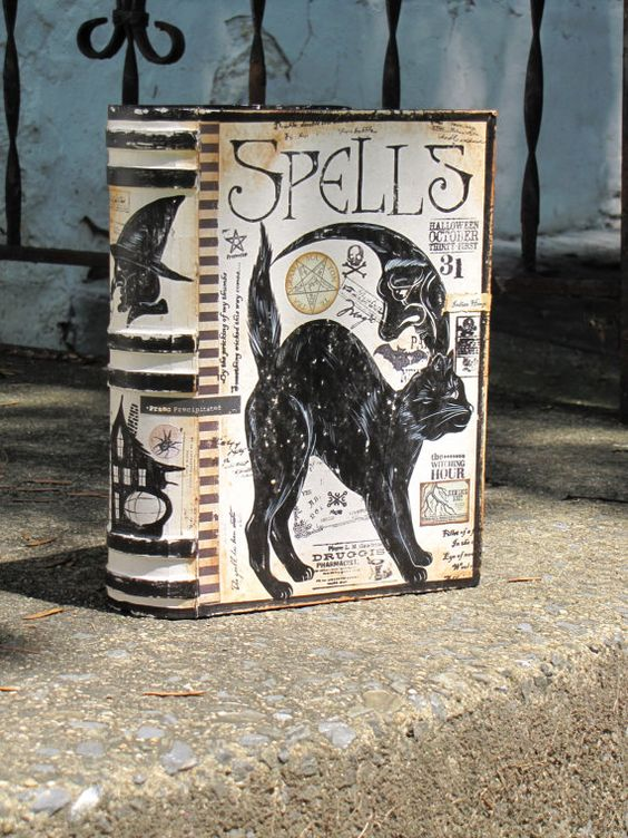 Large Vintage Paper Mache Halloween Witch's Book of SPELLS Box Painted Cat and Moon Hand Painted