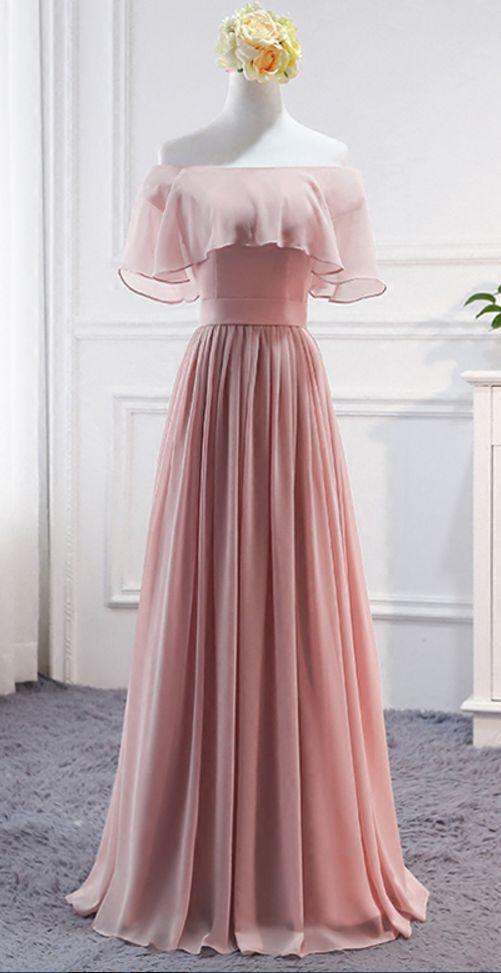 Pink Long Chiffon Wedding Party Dresses Cute Formal Dress Chiffon Long Gowns Cute Formal Dresses Evening Dresses Long Chiffon Dress Long
