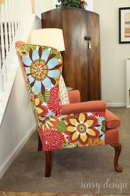 Love the use of two different fabrics.    Living Savvy: How To: Reupholster a Wingback Chair