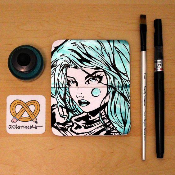 via mischyart on instagram  August 2015 ArtSnacks Challenge