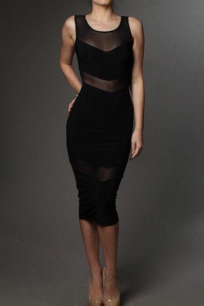 Mesh Insert Sleeveless Tank Knee Length Bodycon Dress - See more at: http://www.pinkclubwear.com