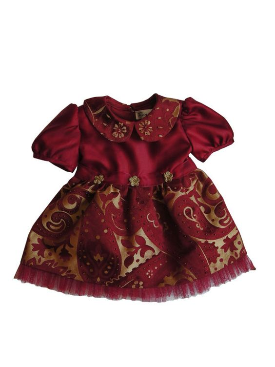 Baby girl Christmas red and gold dress made with by Renattoni