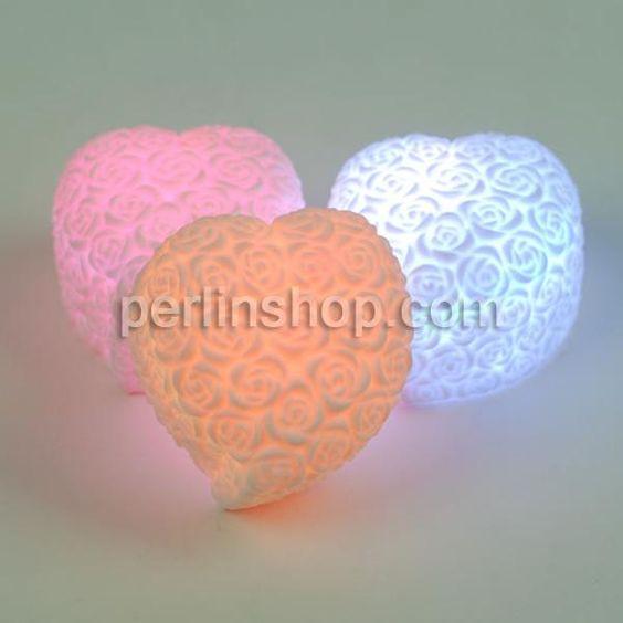 Nachtlampe, Kunststoff Herz, LED, farbenfroh, 70x70x45mm